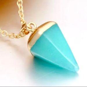 New Aqua Long Pendant Necklace for Women